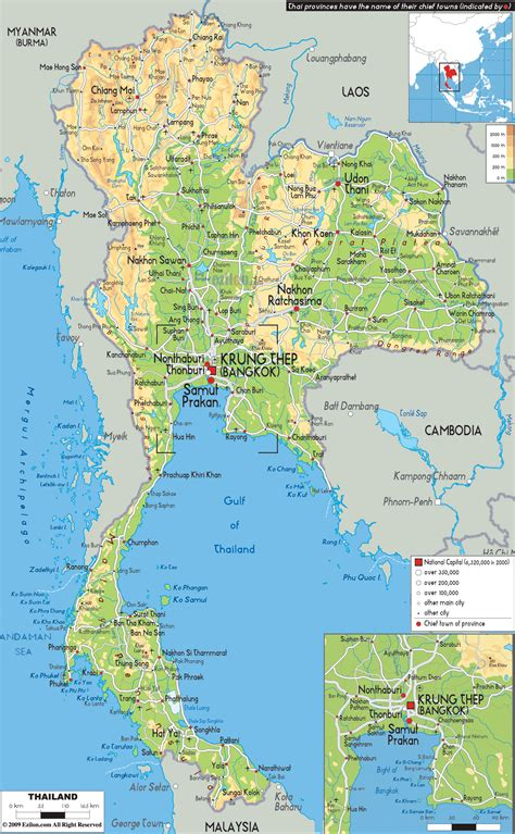 GREAT Map of Thailand   Thailand map, Physical map, Thailand
